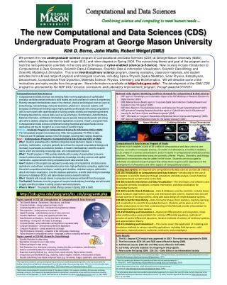 The new Computational and Data Sciences (CDS) Undergraduate Program at George Mason University