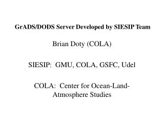 GrADS/DODS Server Developed by SIESIP Team