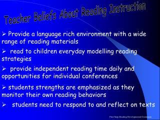 Teacher Beliefs About Reading Instruction