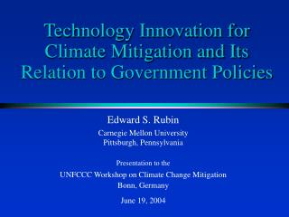 Technology Innovation for Climate Mitigation and Its Relation to Government Policies