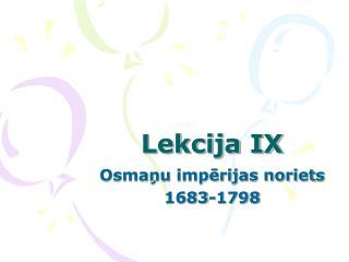 Lekcija IX