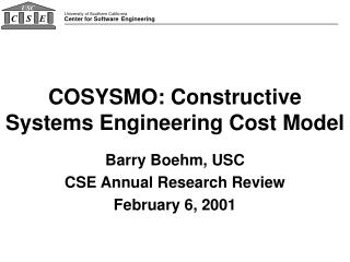 COSYSMO: Constructive Systems Engineering Cost Model