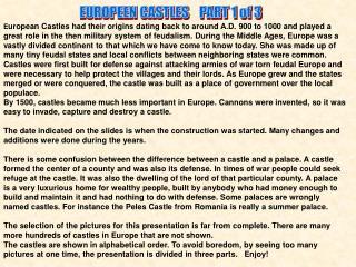 EUROPEEN CASTLES    PART 1 of 3