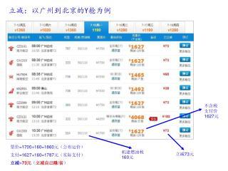 立减:以广州到北京的 Y 舱为例