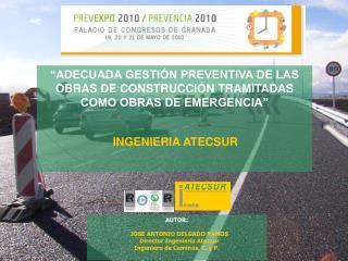 AUTOR :    JOSE ANTONIO DELGADO RAMOS    Director Ingeniería Atecsur Ingeniero de Caminos, C. y P.