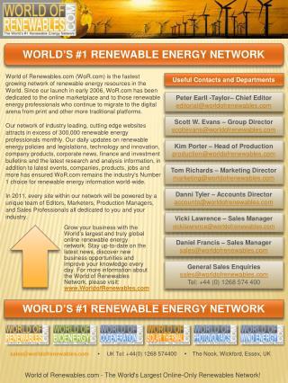 WORLD'S #1  RENEWABLE ENERGY  NETWORK