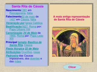 Santa Rita de Cássia Nascimento 1381 em  Roccaporena ,  Itália