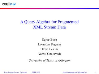 A Query Algebra for Fragmented XML Stream Data