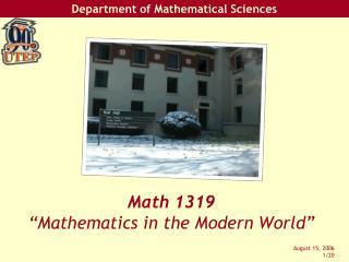 "Math 1319 ""Mathematics in the Modern World"""