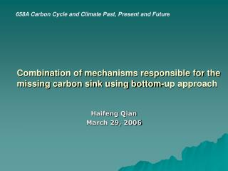 Combination of mechanisms responsible for the missing carbon sink using bottom-up approach