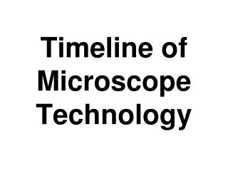 Timeline of Microscope Technology