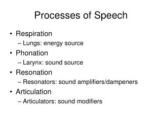 Processes of Speech