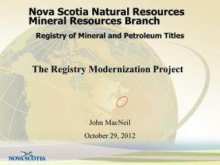 Nova Scotia Natural Resources Mineral Resources Branch