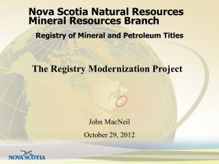 Nova Scotia Natural Resources Mineral Resources Branch