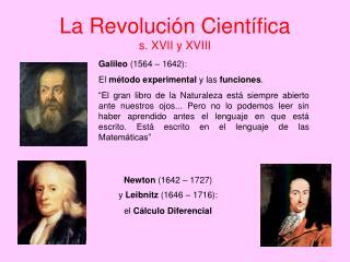 La Revolución Científica  s. XVII y XVIII