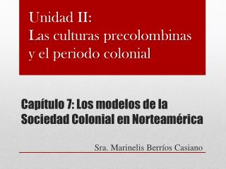 Capítulo 7: Los modelos de la Sociedad Colonial en Norteamérica