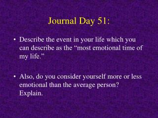 Journal Day 51: