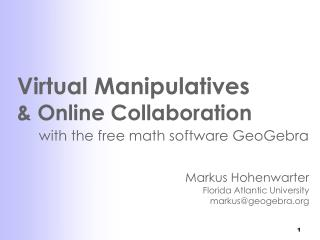 Virtual Manipulatives  & Online Collaboration