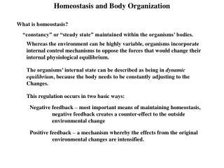 Homeostasis and Body Organization