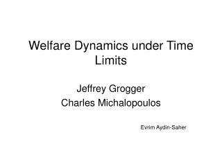 Welfare Dynamics under Time Limits