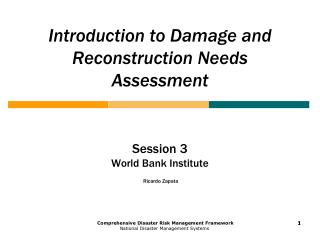 Introduction to Damage and Reconstruction Needs Assessment