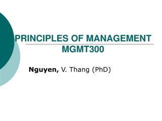 PRINCIPLES OF MANAGEMENT MGMT300