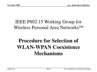 IEEE P802.15 Working Group for Wireless Personal Area NetworksTM