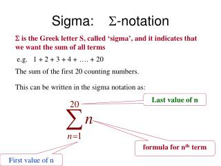 The Greek Letter Sigma Indicates