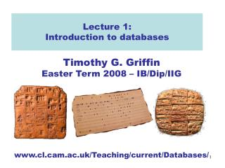 Lecture 1: Introduction to databases