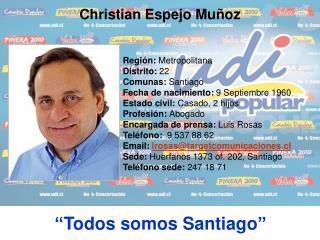 Región:  Metropolitana Distrito:  22 Comunas:  Santiago Fecha de nacimiento:  9 Septiembre 1960