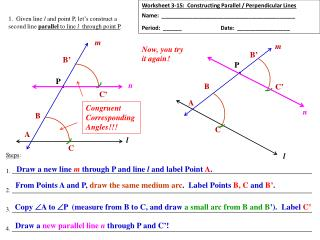 Worksheet 3-15:  Constructing Parallel / Perpendicular Lines