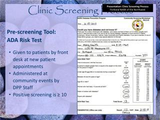 Clinic Screening Process