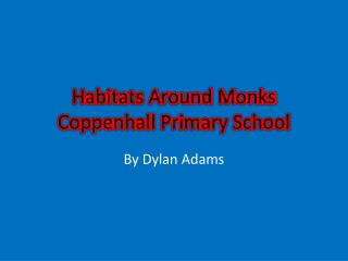 Habitats Around Monks  Coppenhall  Primary School