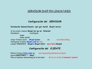 SERVIDOR DHCP EN LINUX/UNIX