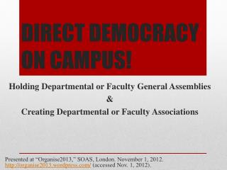 DIRECT DEMOCRACY ON CAMPUS!