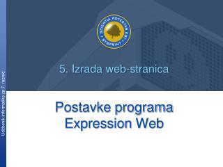 Postavke programa  Expression  Web