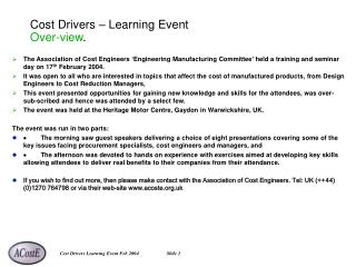 Cost Drivers – Learning Event Over-view .