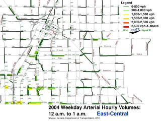 2004 Weekday Arterial Hourly Volumes:   12 a.m. to 1 a.m. East-Central