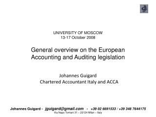 Johannes Guigard   Chartered Accountant Italy and ACCA