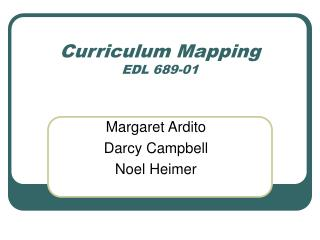 Curriculum Mapping EDL 689-01