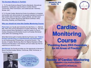 "Cardiac Monitoring Course  ""Providing Basic EKG Essentials for All Areas of Practice"""