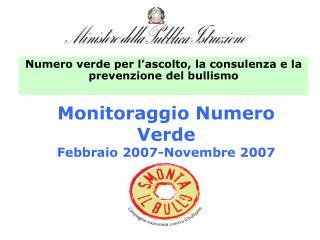 Monitoraggio Numero Verde  Febbraio 2007-Novembre 2007
