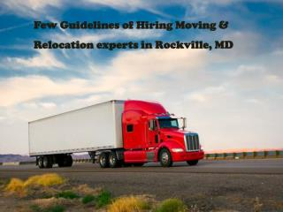 Few Guidelines of Hiring Moving & Relocation experts in Rock