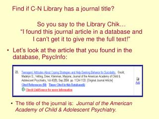 Let's look at the article that you found in the database, PsycInfo: