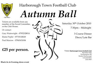 Harborough Town Football Club Saturday 30th October 2010