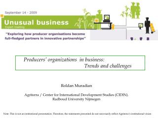 Producers' organizations  in business: