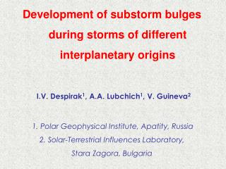 Development of substorm bulges during storms of different interplanetary origins