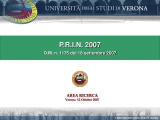 P.R.I.N. 2007 D.M. n. 1175 del 18 settembre 2007