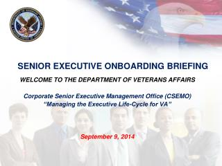 SENIOR EXECUTIVE ONBOARDING BRIEFING