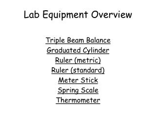 Lab Equipment Overview